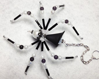 Ophelia - black and white glass beaded spider goth sun catcher - Halloween decoration - Christmas ornament