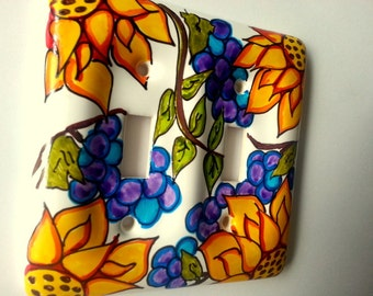 Summer sunflowers and grapes hand painted switchplate