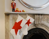 RESERVED Sail Cloth Holiday Stocking - Large with 3 red stars