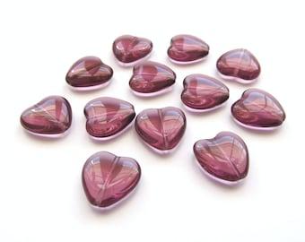 Large Purple Amethyst Czech Glass Hearts, 16mm - 12 pieces