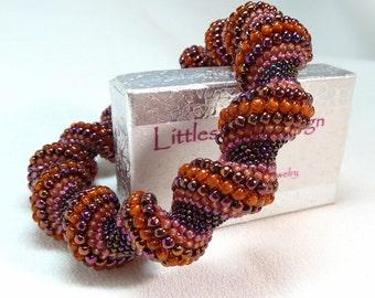 Persian Carpet Beadwoven Cellini Spiral Bangle Bracelet