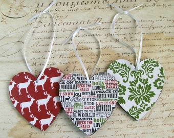 Christmas heart ornaments decorations wood graphic modern red green white black typography Christmas in July