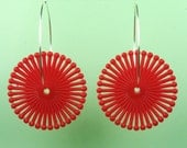 Vintage Red Spiral Lucite Hoop Earrings