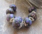 Matte Purple and Ivory Dragon Scale Handmade Lampwork Beads