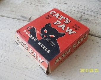 Vintage Box Cat's Paw Rubber Heels, Vintage Advertising Art