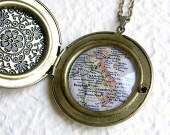 Vietnam Map Necklace - Also featuring South East Asia Map Locket - Great Adoption Gift - Custom Map Jewelry