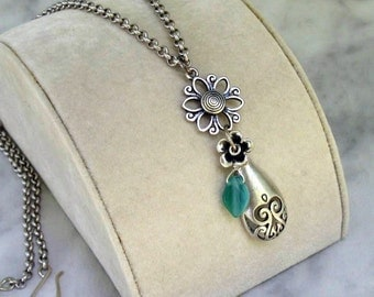 Vase of Flowers Pendant, Matte Satin Silver Rollo Necklace, Wire Wrapped Glass Leaf... Charming Moveable Pendant