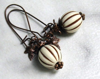 Ivory Lucite Pumpkin Earrings, Antique Copper Tiny Leaves & Curling Vines ... Autumn Harvest Jewelry