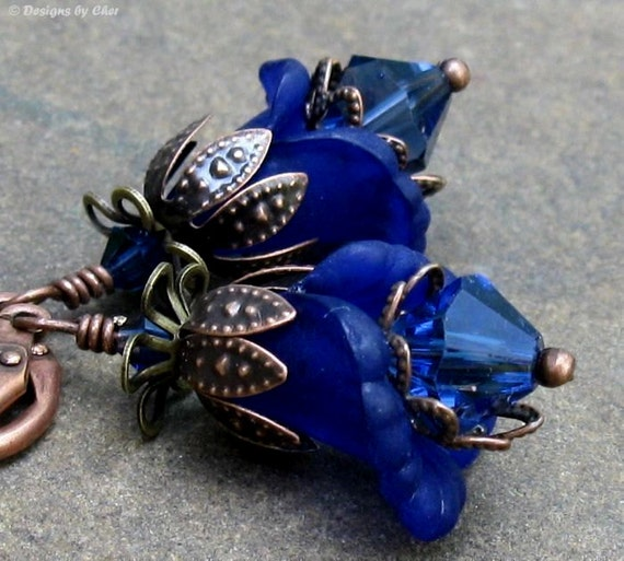 Dark Sapphire Lucite Flower Earrings, Antique Copper & Brass, Swarovski Crystals, Mixed Metal Floral Jewelry, September Gift for Her