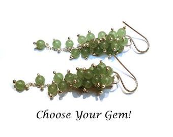 Medium Gemstone Wisteria Earrings -Select your Gemstone in Sterling Silver