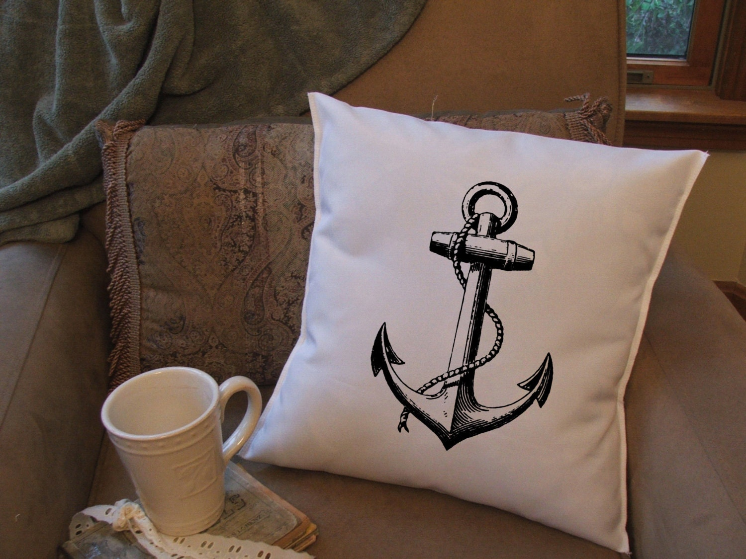 anchor throw pillow cover custom throw pillow by MinnieandMaude