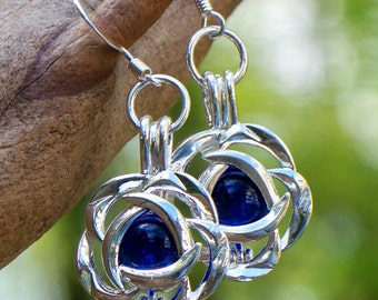 Recycled Vintage Cobalt Noxzema Jar Silver Blossom Earrings