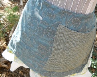 Women's Blue Hostess Apron for Romantic Shabby Chic Garden or Tea Party Upcycled OOAK