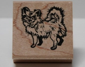 Chihuahua Long Hair rubber stamp