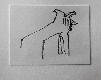 Border Collie Blind Contour Card - Original etching by Nicole Strasburg