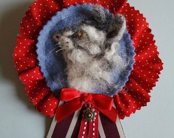 Needle Felted Cat Rossette Corsage