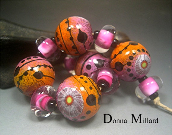 Handmade LAMPWORK Glass Bead Set DONNA MILLARD sra lamp work autumn fall garden flower orange pink rose sunset mango