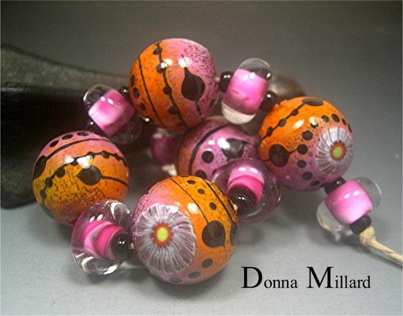Handmade LAMPWORK Glass Bead Set DONNA MILLARD sra lamp work autumn fall garden flower orange pink rose sunset mango