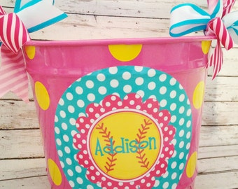personalized 10 QUART softball bucket in pink, teal and yellow