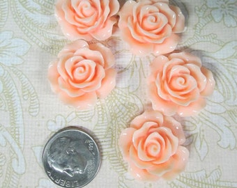 10 pinky peach 20mm rose resin cabochons, beautiful flower cabs