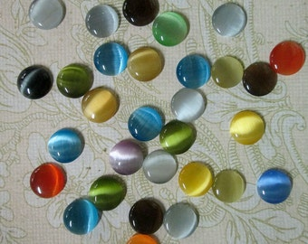 15 cute 10mm round cats eye glass cabochons,  mixed color cabs