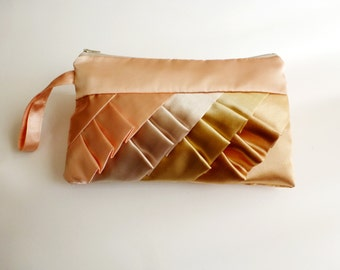 Personalized Peach Beige Champagne and Gold Diagonal Ruffled Wristlet