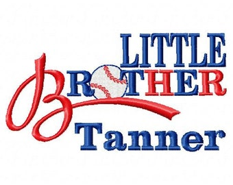 Custom Personalized Baseball Little Brother Short Sleeve T shirt or Bodysuit Sibling Gift Photo Prop