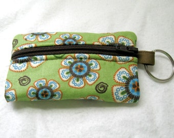 Floral Coin Purse - Sage Change Purse - Flower Ear Bud Case - Tiny Zippered Pouch