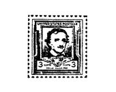 Edgar Allan Poe faux postage stamp rubbers Stamp