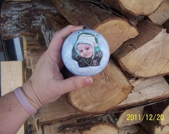 Baby's first Christmas custom painted portrait Christmas ornament