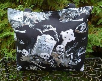 Skeleton purse, knitting bag, long or short handles, you pick, RIP, The Trixie