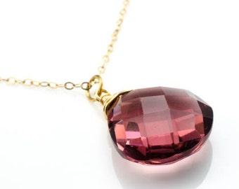Anais Necklace - Plum Faceted Quartz Teardrop Briolette Gold Necklace