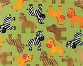 SALE/CLEARANCE  Ann Kelle, Urban Zoologie, Zebras Bermuda Green Fabric - Half Yard