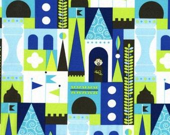 SALE Michael Miller, Tamara Kate, Les Monsieurs, Castle Blocks Blue Fabric - Half Yard