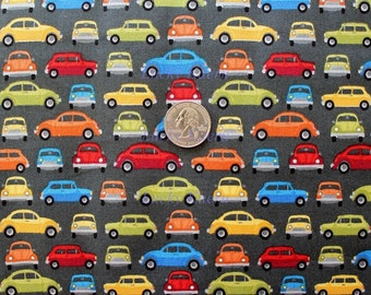 Makower UK, Auto, Car Rows Gray Fabric - Half Yard