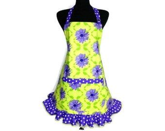 Retro Kitchen Apron for Women , Purple flowers on Green with Polka Dot Ruffle