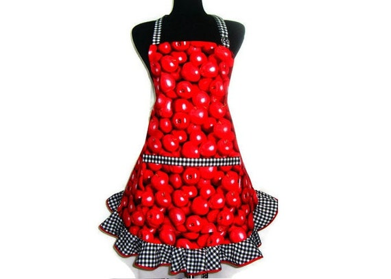 Red Apple Apron , Retro Kitchen Decor with Black and White Gingham Ruffle