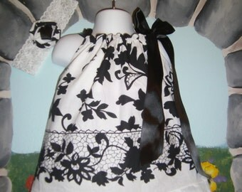 Black & White designer print Party Special occasion picture  dress  Headband size 2 to 3 T or 6 to 7