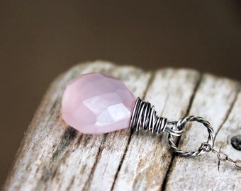 Mystic Pink Chalcedony. Wire wrapped faceted briolette. Antiqued sterling silver. Chain. Solitaire. Wedding. Minimalist.