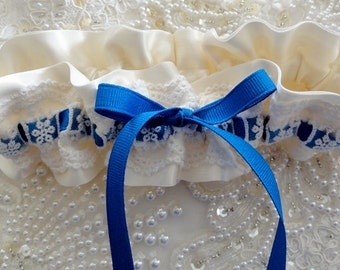 Electric Blue & Antique White Garter with Lace Overlay