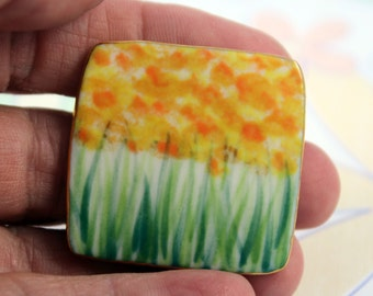 Yellow Orange Monet Flower Pin Handmade Porcelain Jewelry By Linda Cain