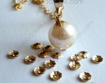 100 pcs 3mm Flower Gold Filled Bead Caps Tiny Beadcaps GF Caps C95GF
