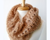 Gift for Her - Knit Infinity Scarf - Women's Scarf - Mohair and Silk Knit Cowl Snood - Caramel Beige