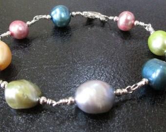 Pastel Multi Color Freshwater Pearl Sterling Silver Bracelet LTD ED