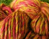 Handspun Yarn FLOWER BLOOM 105yds 2.9oz 8-9wpi wool alpaca yarn aspenmoonarts knitting supplies handmade