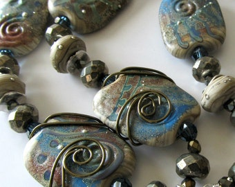 Lampwork Beaded Necklace Earth tones Pyrite Gemstones Pendant necklace Mixed metals...Tribal Canyons Beaded Jewelry