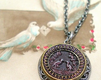 Love Birds Antique BUTTON necklace, 1800s Victorian BIRDS on silver chain. Antique button jewelry, jewellery