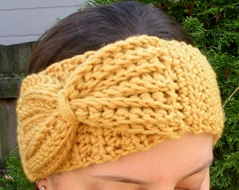 Crochet Pattern Ear Warmer Winter Headband with Bow Easy Crochet PDF Download Pattern