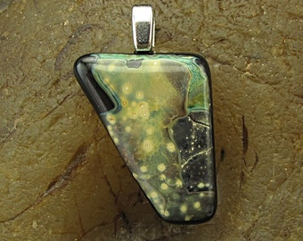 Handmade Fused Glass Focal Pendant -Space Shards- by Jason Powers SRA