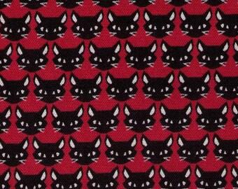 Halloween - HALF YARD Kokka - Black Angry Ninja Kitty on Red - Trefle - Japanese Import Fabric